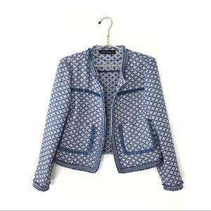ZARA Blue Tweed Boucle Blazer Jacket Raw Hem